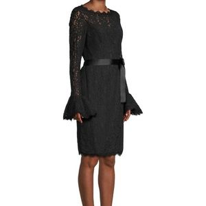 Nue By Shani black lace Bell-Sleeves Sheath dress